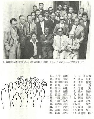 本間剛夫(21番)が来伯した折に行われた謝恩会(『エメボイ実習場史』318頁)