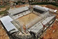日本代表の3試合会場の中で最も工事が遅れているクイアバの「アレーナ・パンタナル」サッカー場(Foto: Edson Rodrigues / Secopa、18/11/2013)
