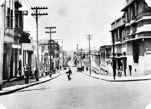 1930年代中頃、〃日本人街〃コンデ・デ・サルゼーダス街の様子(『在伯同胞活動実況写真帳』1938年、竹下写真館)