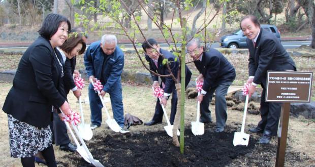 記念植樹を行なった福井会長(左端)ら(同協会提供)