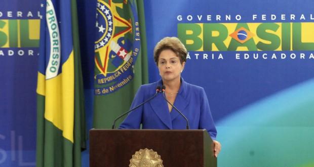 18日の反汚職防止政策集発表式典でのジウマ大統領(Roberto Stuckert Filho/PR)