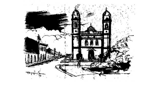 菅沼東洋司・画のイグアッペの聖堂(『森の夢2』 醍醐麻沙夫著、1977年 サンパウロ新聞連載より)