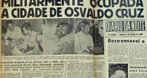 「日本人を縛って馬で街路を引きずる暴徒がオズワルド・クルスの町を占拠」と報じる1946年8月3日付ジアリオ・ダ・ノイチ紙