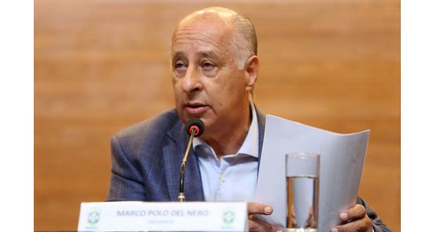 29日の会見中のデル・ネーロCBF会長(Rafael Ribeiro/CBF)