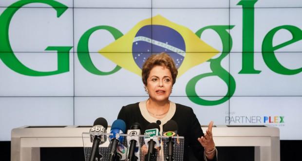 グーグル本社で記者会見に臨むジウマ大統領(Roberto Stuckert Filho/PR)