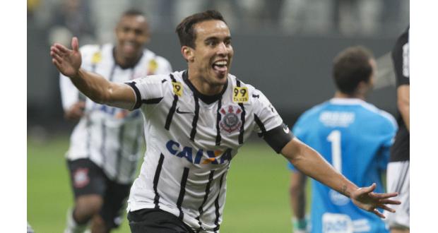 先制ゴールを決めて喜ぶコリンチャンスのジャジソン(Daniel Augusto Jr./Ag. Corinthians)