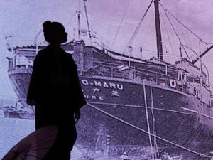 笠戸丸で日本を旅立つ移民を表現したシーンも