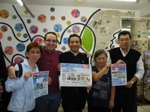 (左から)佐野アリセ、ルイス・メロ、徳弘牧師、マリア・ヤマサキ、佐藤ルイスさん