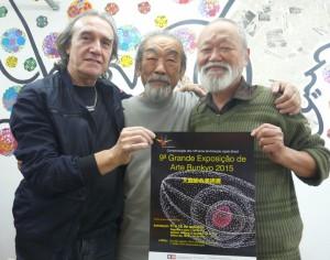 芸術家のフェルナンド・デュランさん、金子謙一美術委員長、生駒憲二郎工芸部委員長