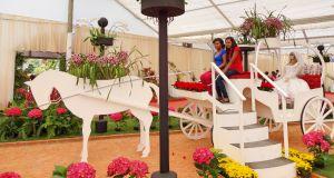 サンパウロ州アルジャー市では、毎年花祭りが開催される。今年は「愛の賛歌」をテーマに、2千平米もの広大な会場を結婚式のイメージで飾りつけられていた。