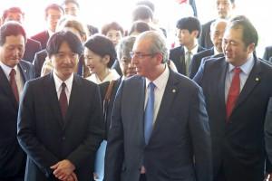 連邦議会でエドゥアルド・クーニャ下院議長の出迎えを受けた両殿下