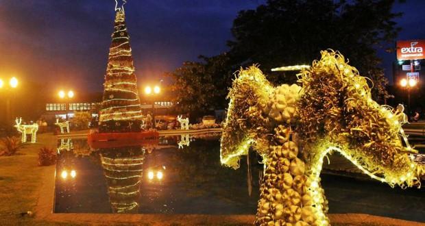 クリスマスツリーと天使の夜景(Luigi do Valle/Prefeitura de Araruama)