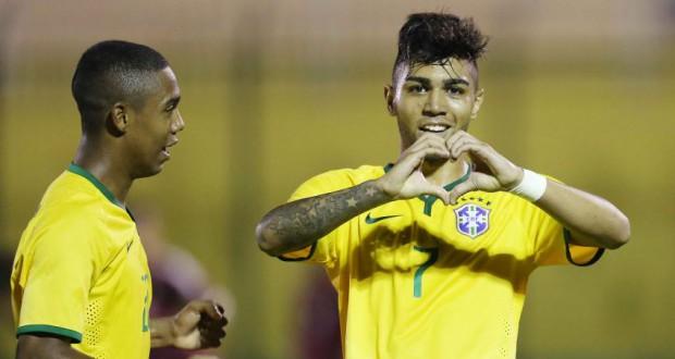 移籍市場価値1位、サントスFCのガブリエル(右)(Rafael Ribeiro/CBF)