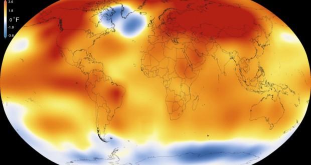 Nasaが発表した気温分布図(Scientific Visualization Studio/Goddard Space Flight Center)