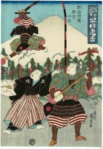 早竹虎吉の有名な演目「富士の旗竿」(By 歌川国芳 (internet) [Public domain], via Wikimedia Commons)