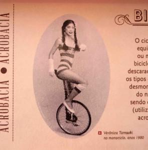 自転車演技を披露していた時代の玉置ヴェロニカさん(CMCの展示より)