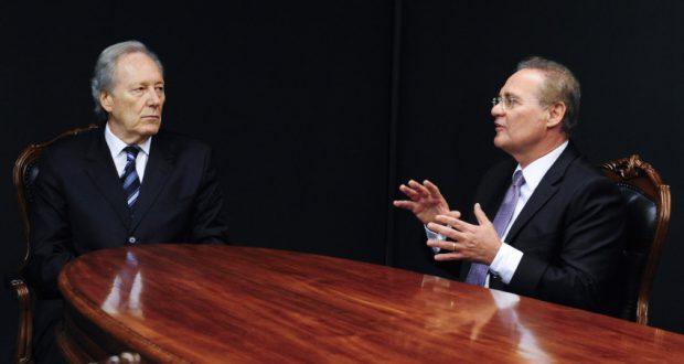 18日の打ち合わせでのレナン・カリェイロス上院議長とリカルド・レヴァンドウスキー最高裁長官(Jonas Pereira/Agência Senado)