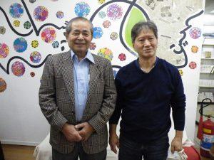 「創立記念行事を盛り上げよう!」と、知念さん(左)と米須さん
