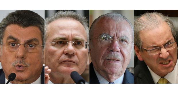 検察庁が逮捕請求を出した(左から)ジュカー、レナン、サルネイ、クーニャの各氏(Antonio Cruz/Agência Brasil、Jefferson Rudy/Agência Senado)