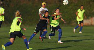 一番最初に競技が始まる女子サッカーで伯国チームを牽引するマルタ(1日の練習中、Ricardo Stuckert/CBF)