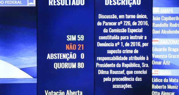 10日未明、上院の投票結果を伝える電光掲示板(Marcelo Camargo/Agência Brasil)