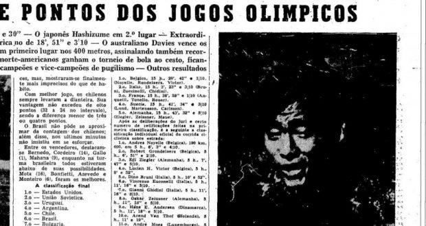 エスタード紙1952年8月3日付スポーツ面には岡本の大きな写真が掲載された