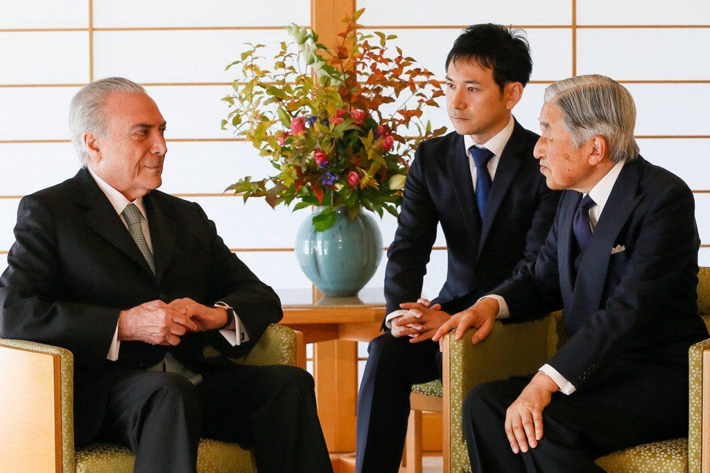 )天皇陛下と会見したテメル大統領(Foto: Beto Barata/PR)