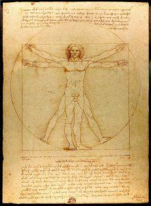 レオナルド・ダ・ヴィンチの人体図(en:Vitruvian Man、Leonardo da Vinci [Public domain], via Wikimedia Commons)