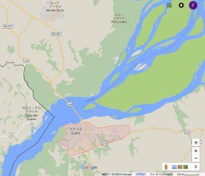 パラナ州北西端にあるグアイーラ周辺の地図。パラナ川の向こうは南麻州、そのすぐ南がパラグアイ(Google マップ/Google Earth)
