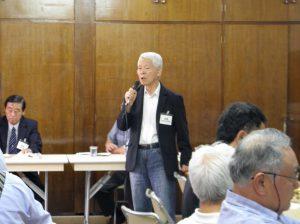 県連代表者会議で嘆願書提出を訴える長崎県人会川添会長