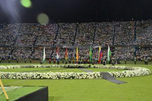 アタナシオ・ヒラドー・スタジアムでの追悼集会(Alcaldía de Medellín)