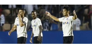 コッパ・サンパウロ準々決勝で先制ゴールを決めた、コリンチャンスの日系人選手ファブリシオ・オオヤ(Rodrigo Gazzanel/Agência Corinthians)