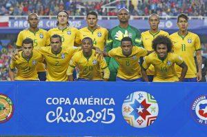 2015年チリで開催された南米選手権でのブラジル代表(Rafael Ribeiro/ CBF)