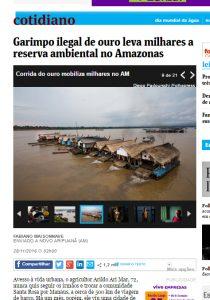 現在でも違法浚渫が横行して問題になっているマデイラ川のガリンポ筏(フォーリャ紙2016年11月28日付電子版)