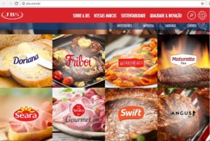 世界的企業JBSのサイトにあるグループ企業の商品ブランド。誰でも見たことがある有名商品名ばかり…