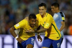 3月23日、W杯南米予選ウルグアイ戦でのパウリーニョ(Lucas Figueiredo/CBF)