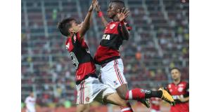 19日、得点を決めて喜ぶヴィニシウス・ジュニオール(Gilvan de Souza/Flamengo)