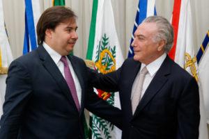 18日のテメル大統領とマイア下院議長(Marcos Corrêa/PR)