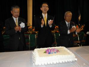 杉山県議会議長、内堀知事、永山会長(左から)