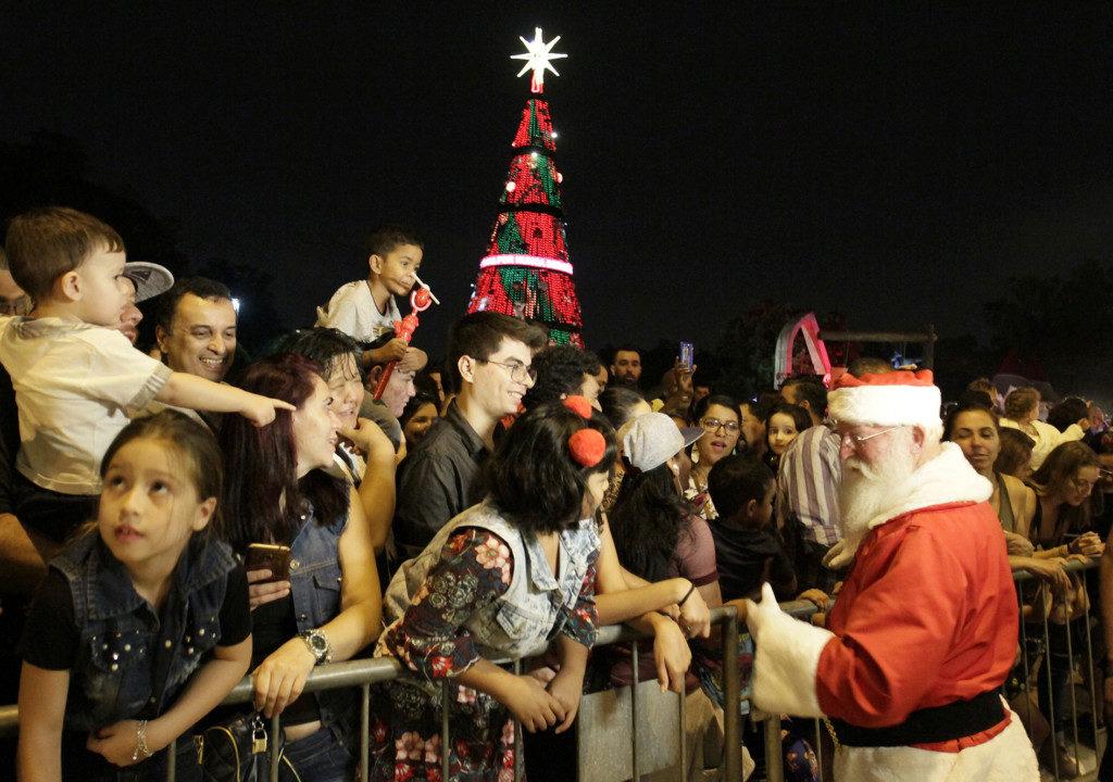 サンパウロ市イビラプエラ公園に設けられたクリスマスツリーとその前に集まる人々(Heloisa Ballarini/Secom PMSP)