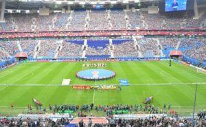 17年、開幕一年前に行われたコンフェデ杯開幕戦の様子。セレソンは同じスタジアムでコスタリカと戦う(President of Russia)