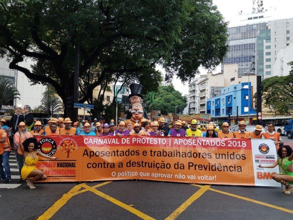 パウリスタ大通りでのデモの様子(Força Sindical)