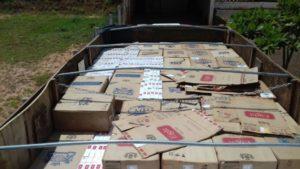 ブラジル南部パラナ州で押収された密輸タバコ(PMPR)