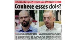 コーヴァス新サンパウロ市長(左)と共に、「この2人知ってる?」と地元紙に書かれた、マルシオ・フランサ新サンパウロ州知事(右)