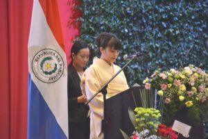 2016年9月のパラグアイ日本人移住80周年、眞子さまは式典で「日本から移住された方々が、数多くの困難を、勤勉に誠実に乗り越えてこられたことに、思いをはせております」と述べられた(foto/パラグアイ日本人会連合)