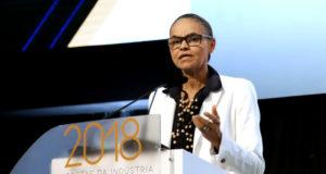 CNI主催会議で発言するマリーナ・シウヴァ候補(Andre Carvalho/CNI)