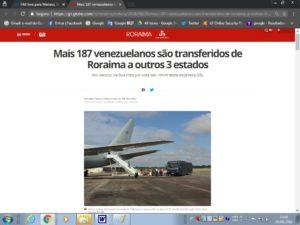 187人の移送について報じたG1サイトの記事