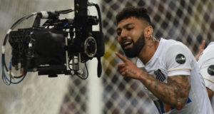 ゴールを決めてカメラにニッコリ微笑むガビ・ゴール(Ivan Storti/Santos FC)