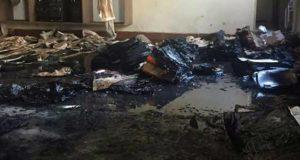 放火事件直後の保育室(Polícia Militar/Divulgação)