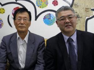 案内のため来社した広瀬副会長、古藤さん